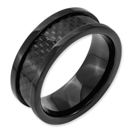 Chisel Titanium 9mm Black-plated Carbon Fiber Inlay Polished Band