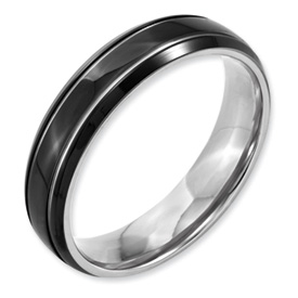Chisel Titanium Grooved 6mm Black-plated Brushed and Polished Band