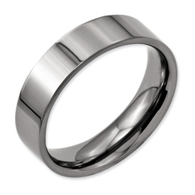Chisel Titanium Polished Flat 6mm Wedding Band