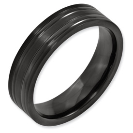 Chisel Black Titanium Grooved 6mm Flat Brushed and Polished Band