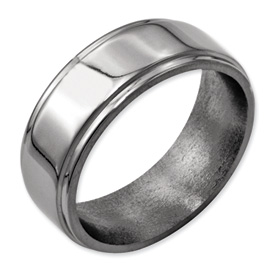 Chisel Titanium Ridged Edge 8mm Polished Band
