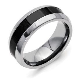 Chisel Titanium Polished Black Ceramic Center Beveled 7.5mm Band