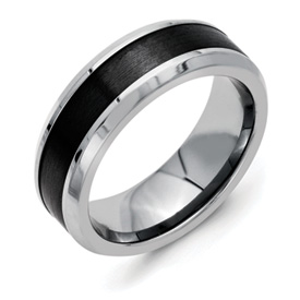 Chisel Titanium Polished Black Ceramic Center Beveled 8mm Band