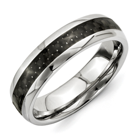 Chisel Titanium Black Carbon Fiber 6mm Polished Band