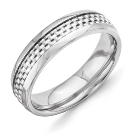 Chisel Titanium and Grey Carbon Fiber 6mm Polished Band