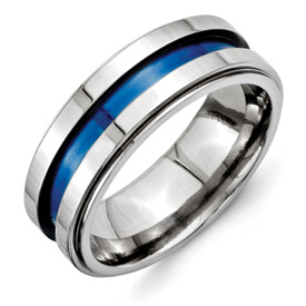 Chisel Titanium Blue Triple Groove 8mm Polished Band