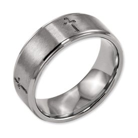Chisel Titanium Ridged Edge Cross 8mm Brushed and Polished Band