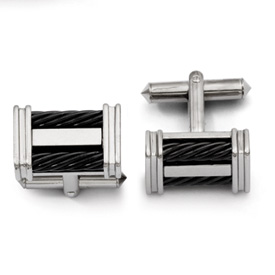 Chisel Titanium Black-plated Wire Cuff Links