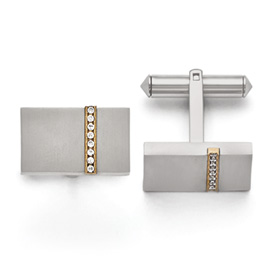 Titanium Brushed Yellow IP-plated CZs Rectangular Cuff Links