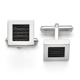 Titanium Polished Black IP-plated Wire Cufflinks