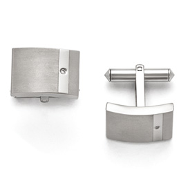 Titanium Brushed and Polished Clear CZ Cufflinks