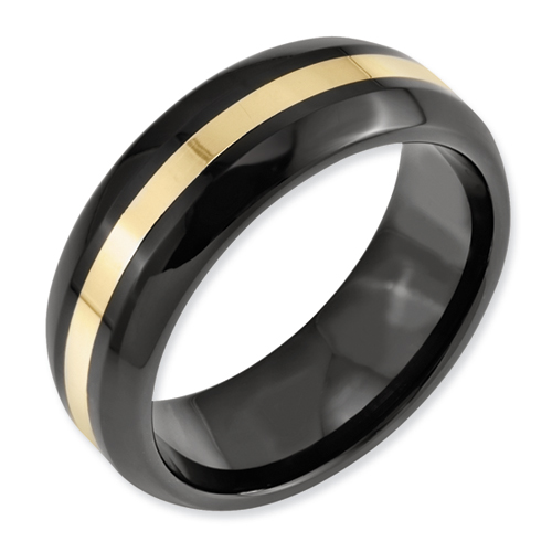 Chisel Ceramic Black With 14k Inlay 8mm Polished Band