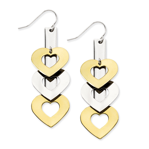 Chisel Stainless Steel Gold Plated and Polished Hearts Dangle Earrings