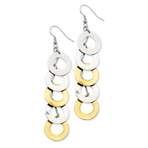 Chisel Stainless Steel Gold Plated and Polished Circle Dangle Earrings