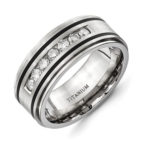 9mm Wedding Band 1 4 Ct Tw Black Diamonds Stainless Steel: Titanium Polished/Brushed Enameled 1/2ct Tw. Diamond 9mm