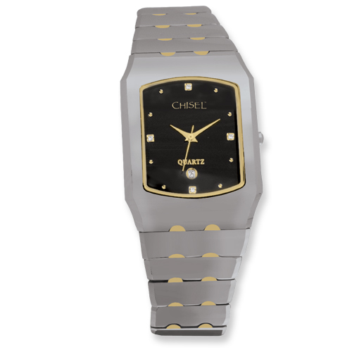 484a7105fe6dcb Mens Chisel Tungsten Gold-plated Accent Black Dial 29x40mm Watch ...