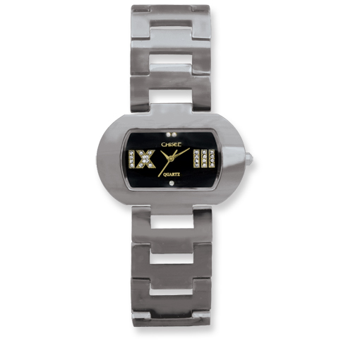 Chisel Ladies Chisel Tungsten Black Oval Dial Watch