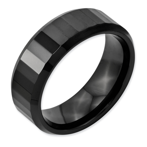 Chisel Ceramic Black 8mm Polished Band