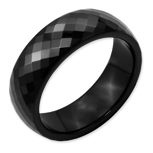Chisel Ceramic Black Faceted 7mm Polished Band