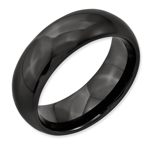 Chisel Black Ceramic 8mm Polished Band