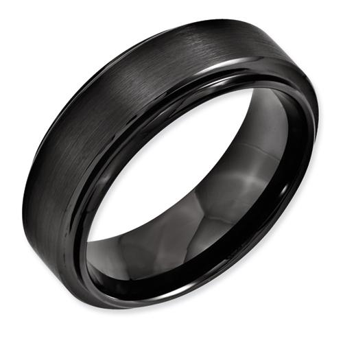 Chisel Black Ceramic Ridged Edge 8mm Brushed and Polished Band