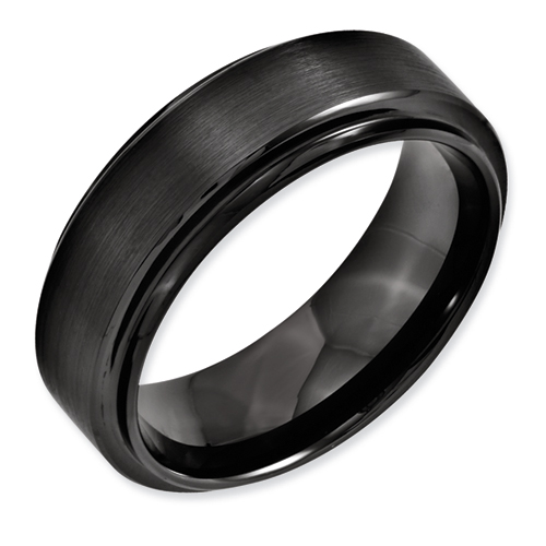 Chisel Black Ceramic Ridged Edge 8mm Brushed and Polished Band