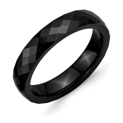 Chisel Ceramic Black 4mm Faceted Polished Band