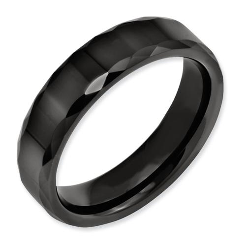 Chisel Ceramic Black Faceted Edge 6mm Polished Band