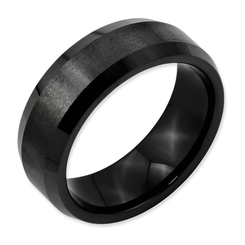 Chisel Black Ceramic 8mm Beveled Edge Brushed and Polished Band