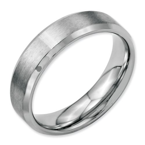 Chisel Stainless Steel Beveled Edge 6mm Brushed and Polished Band