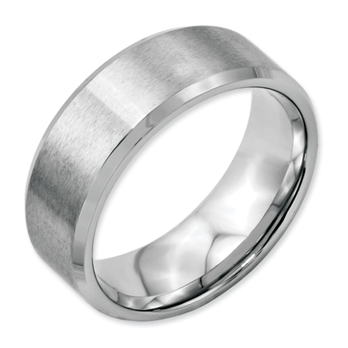 Chisel Stainless Steel Beveled Edge 8mm Brushed and Polished Band
