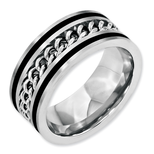 Chisel Stainless Steel 10mm Chain and Black-plated Brushed and Polished Band