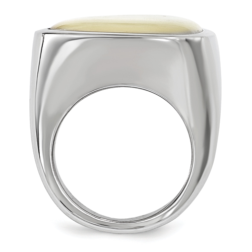 Chisel Stainless Steel Mother of Pearl Ring