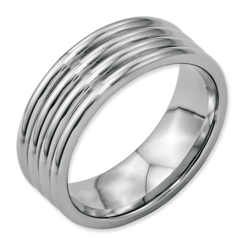 Chisel Stainless Steel Grooved 8mm Polished Band