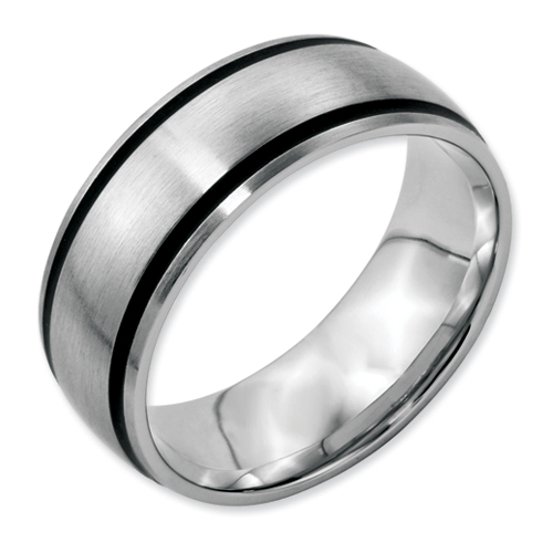 Chisel Stainless Steel Black Accent 8mm Brushed Band