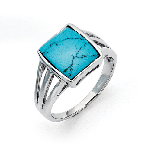 Chisel Stainless Steel Imitation Turquoise Ring