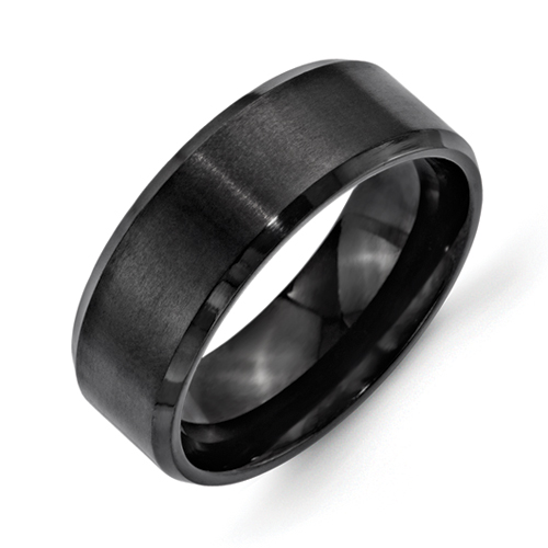 Chisel Stainless Steel 8mm Black IP-plated Brushed and Polished Beveled Edge Band