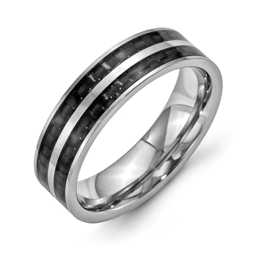 Chisel 6mm Stainless Steel Double Row Polished Band with Black Carbon Fiber Inlay