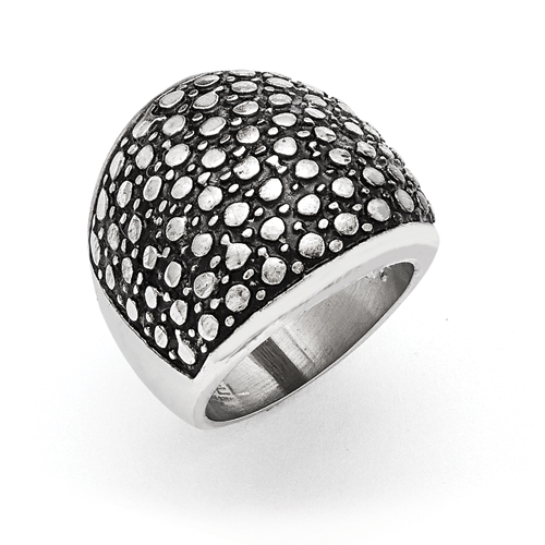 Stainless Steel Polished and Antiqued Ring