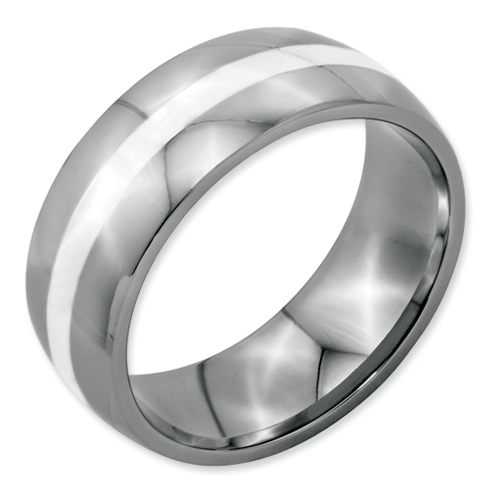 Chisel Stainless Steel Silver Inlay 8mm Polished Band
