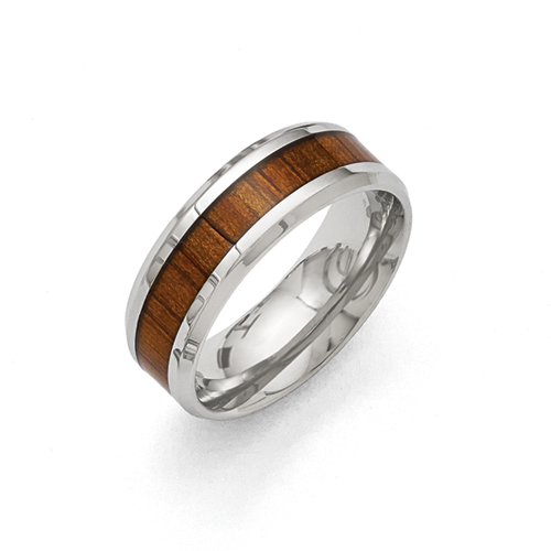 Stainless Steel Polished Red/Orange Wood Enameled 8.00mm Ring