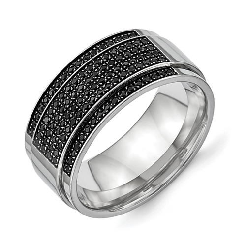 Stainless Steel Polished Diamond Ridged Edge Band