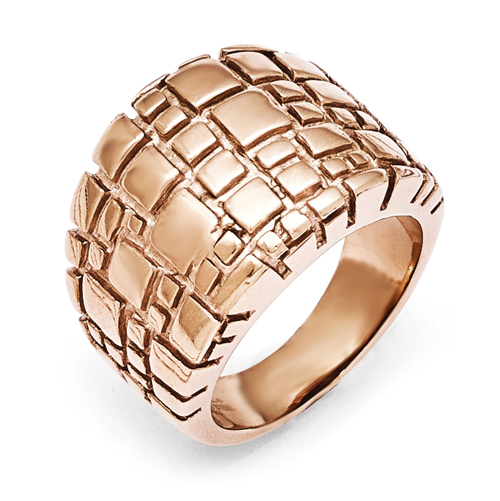 Stainless Steel Polished and Textured Rose IP-plated Ring