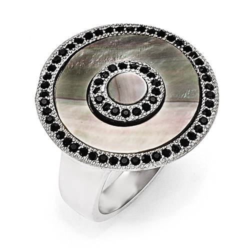 Stainless Steel Polished Black Mother of Pearl and Crystal Ring