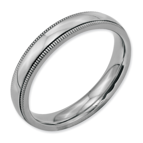 Chisel Stainless Steel Grooved and Beaded 4mm Polished Band