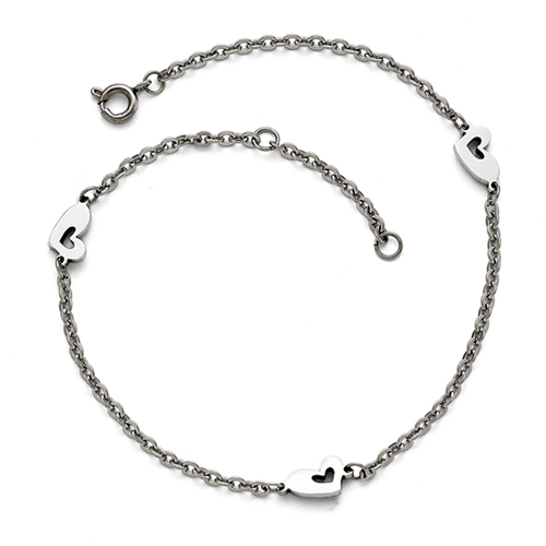 Stainless Steel Polished Hearts with 1in extension Anklet