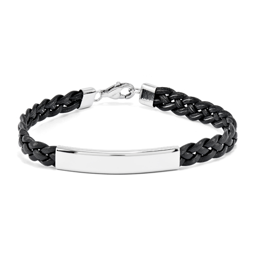 Stainless Steel Polished Leather ID Bracelet