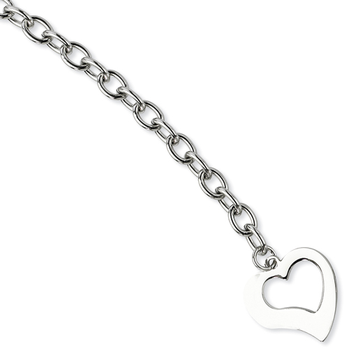 Chisel Stainless Steel Polished Open Link Open Heart 8.5 inch Bracelet