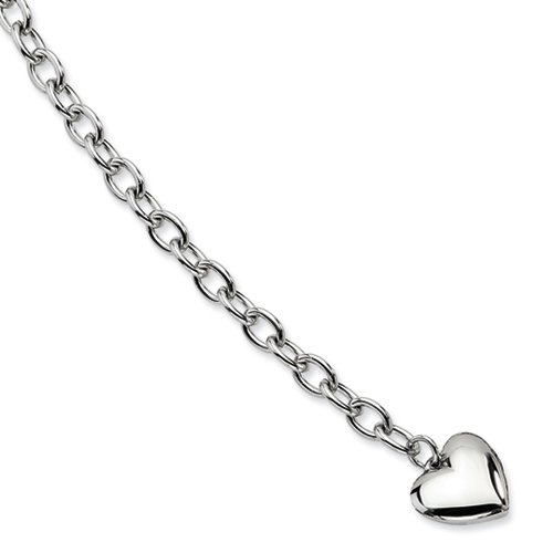 Chisel Stainless Steel Polished Open Link Heart 8.5 inch Bracelet