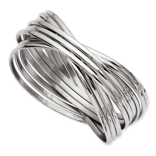Chisel Stainless Steel Intertwined Bangle Bracelet